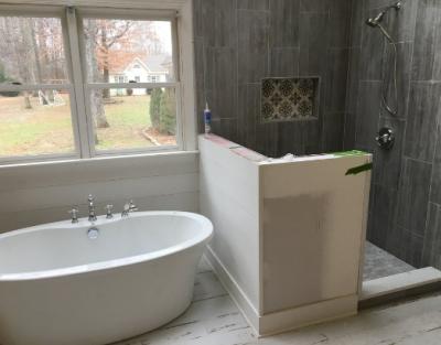 bathtub & shower in newly remodeled bathroom
