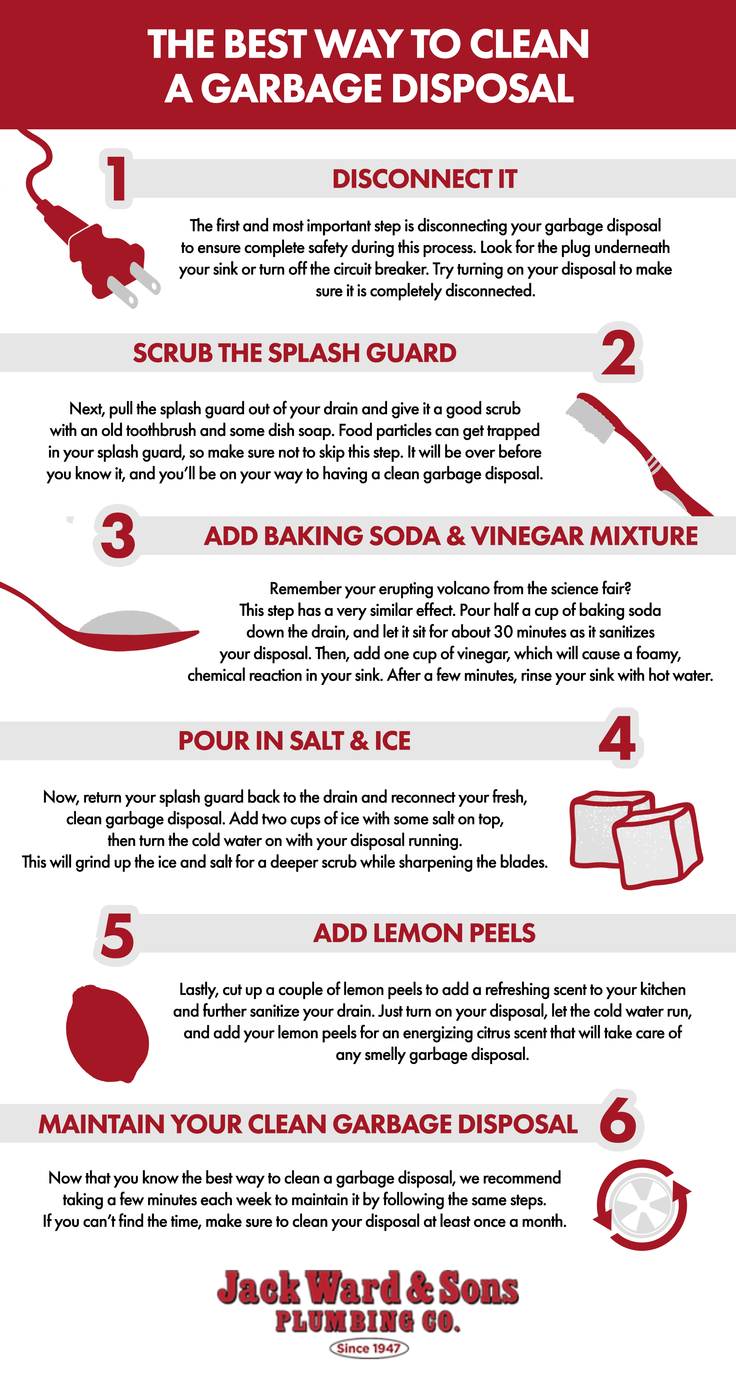 the best way to clean a garbage disposal infographic